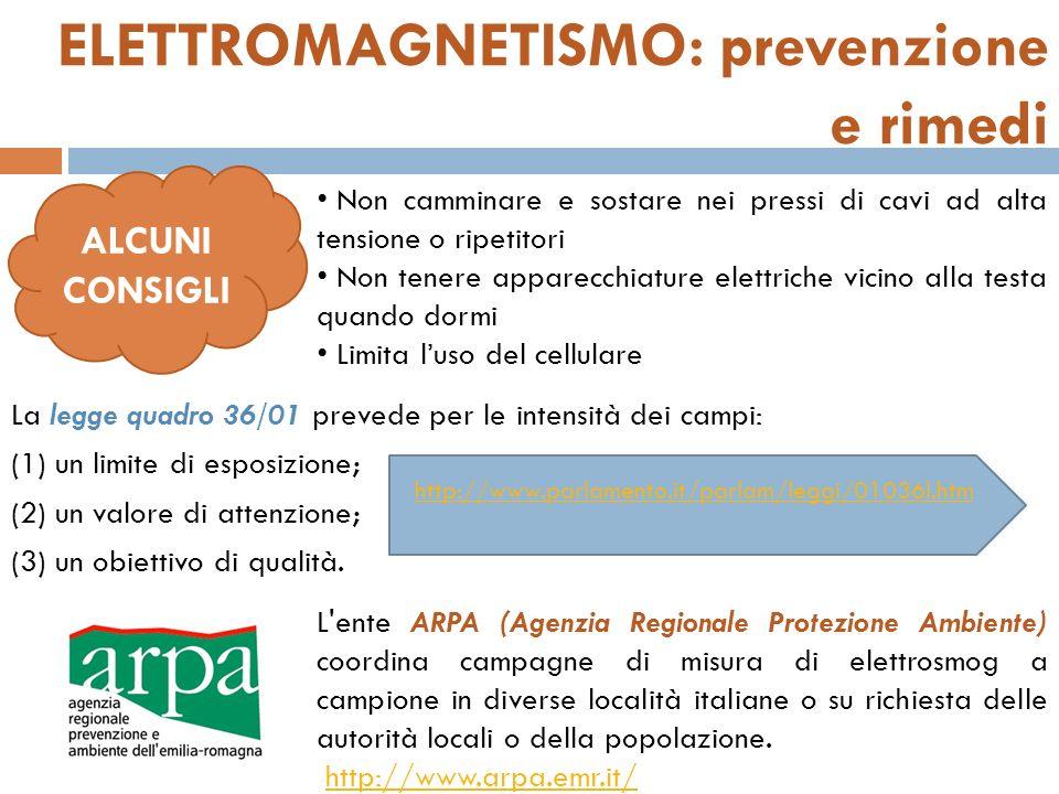 ELETTROMAGNETISMO: prevenzione e rimedi La legge quadro 36/01 prevede per le intensità dei campi: (1) un limite di esposizione; (2) un valore di atten
