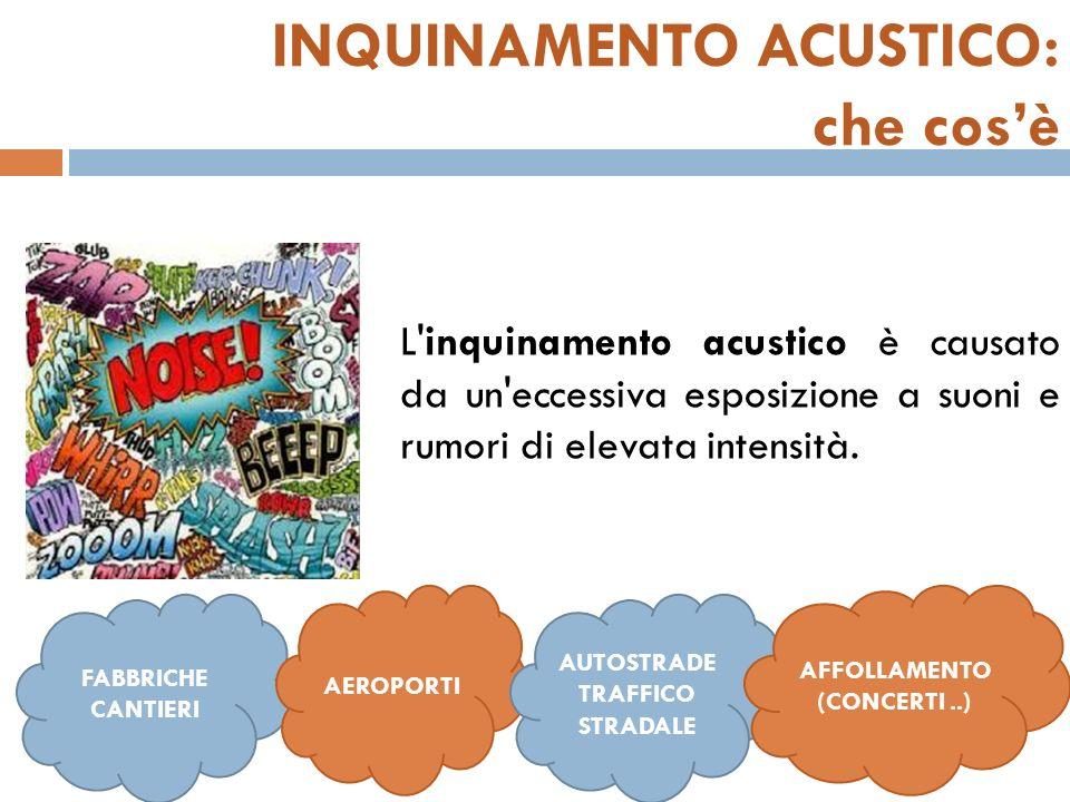INQUINAMENTO ACUSTICO: che cosè L inquinamento acustico è causato da un eccessiva esposizione a suoni e rumori di elevata intensità.