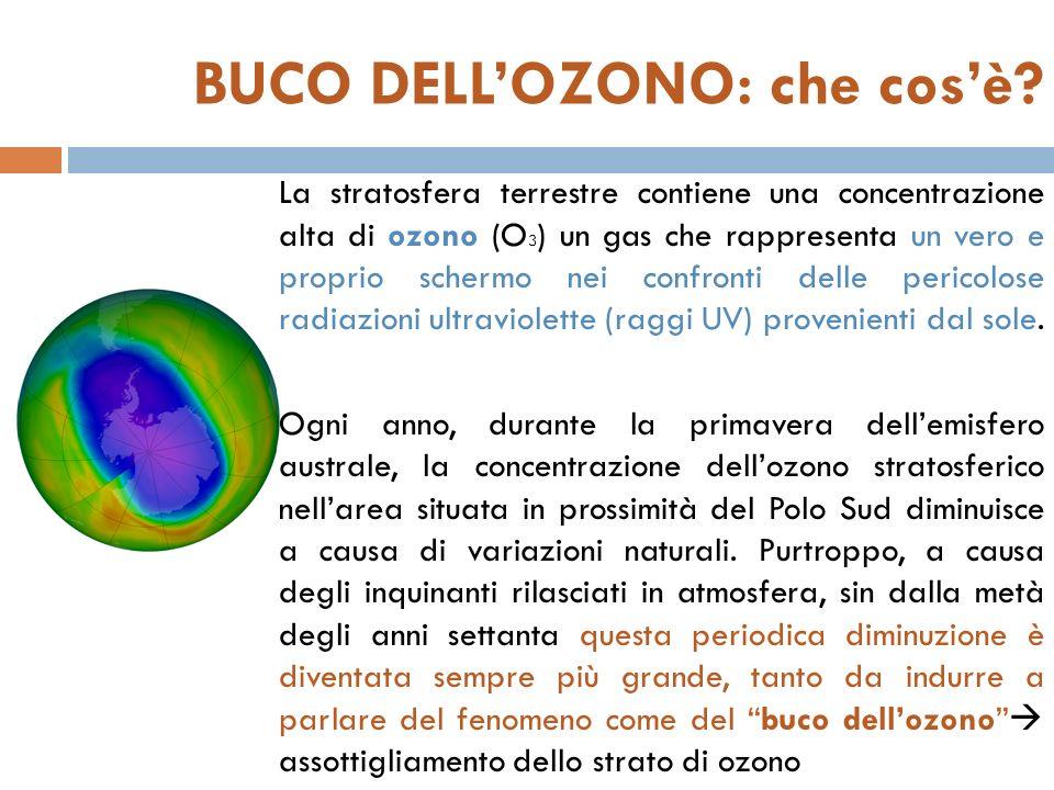 BUCO DELLOZONO: che cosè? La stratosfera terrestre contiene una concentrazione alta di ozono (O 3 ) un gas che rappresenta un vero e proprio schermo n