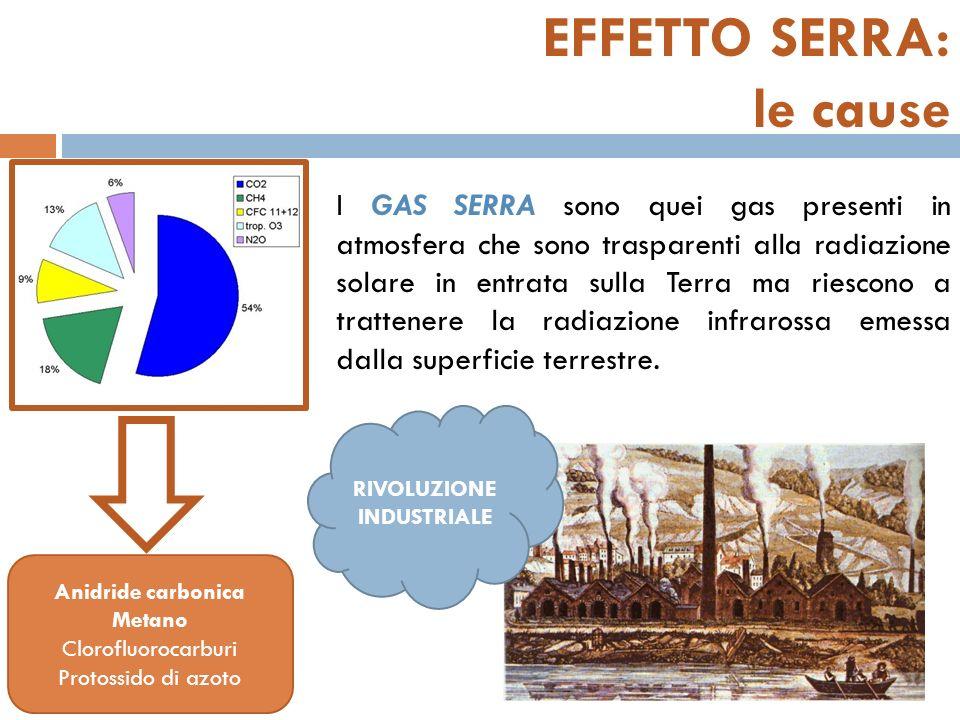 EFFETTO SERRA: le cause I GAS SERRA sono quei gas presenti in atmosfera che sono trasparenti alla radiazione solare in entrata sulla Terra ma riescono a trattenere la radiazione infrarossa emessa dalla superficie terrestre.