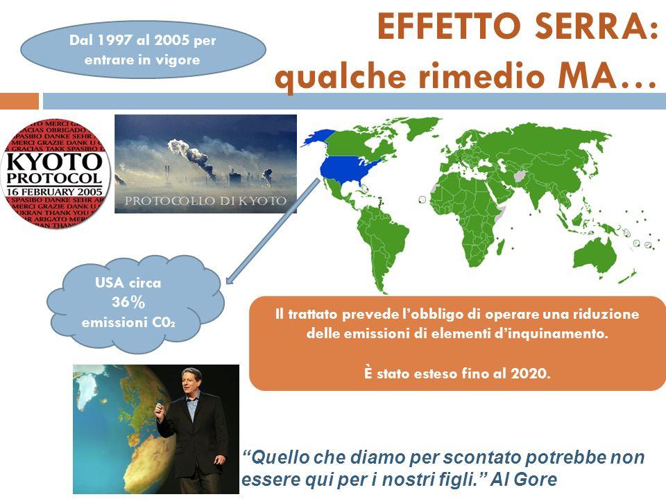 EFFETTO SERRA: qualche rimedio MA… USA circa 36% emissioni C0 2 Il trattato prevede lobbligo di operare una riduzione delle emissioni di elementi dinquinamento.