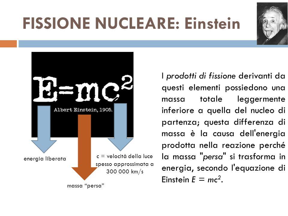 FISSIONE NUCLEARE: Einstein I prodotti di fissione derivanti da questi elementi possiedono una massa totale leggermente inferiore a quella del nucleo di partenza; questa differenza di massa è la causa dell energia prodotta nella reazione perché la massa persa si trasforma in energia, secondo l equazione di Einstein E = mc 2.
