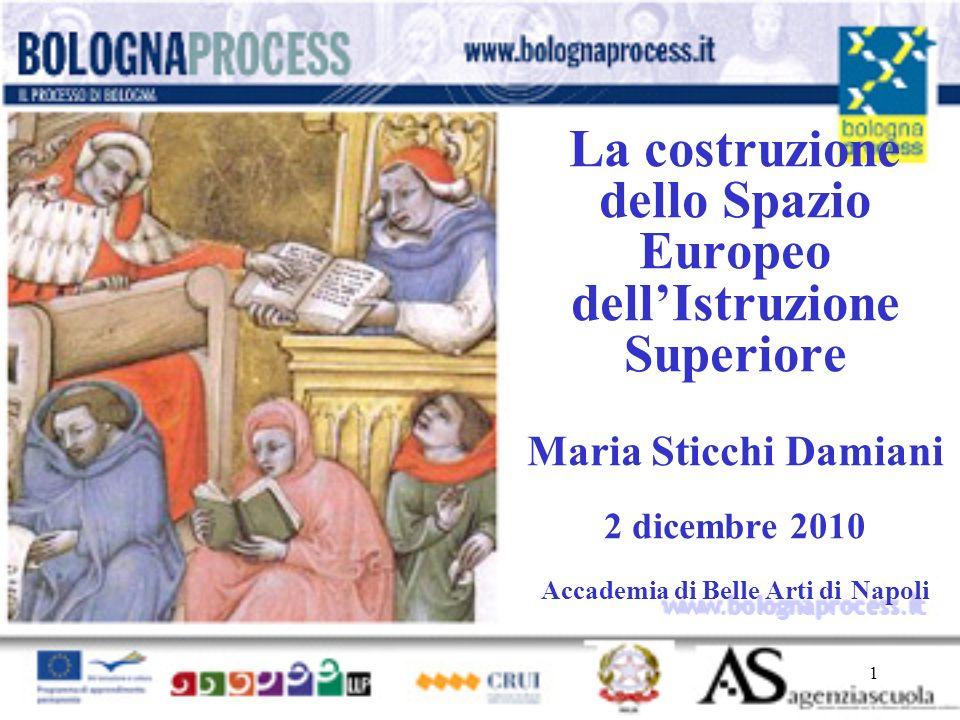1 www.bolognaprocess.i t La costruzione dello Spazio Europeo dellIstruzione Superiore Maria Sticchi Damiani 2 dicembre 2010 Accademia di Belle Arti di Napoli