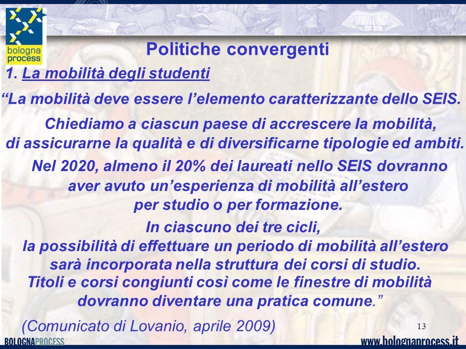 13 Nel 2020, almeno il 20% dei laureati nello SEIS dovranno aver avuto unesperienza di mobilità allestero per studio o per formazione.