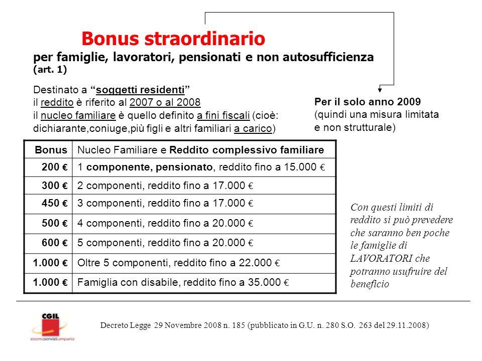 Bonus straordinario per famiglie, lavoratori, pensionati e non autosufficienza (art.