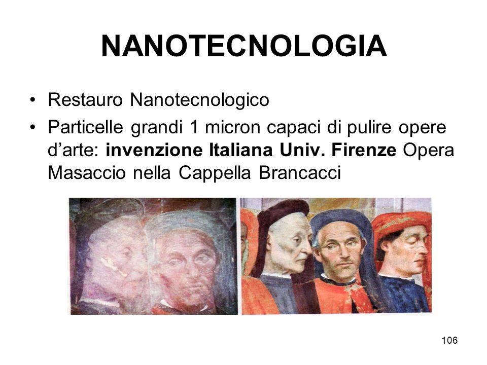 106 NANOTECNOLOGIA Restauro Nanotecnologico Particelle grandi 1 micron capaci di pulire opere darte: invenzione Italiana Univ. Firenze Opera Masaccio