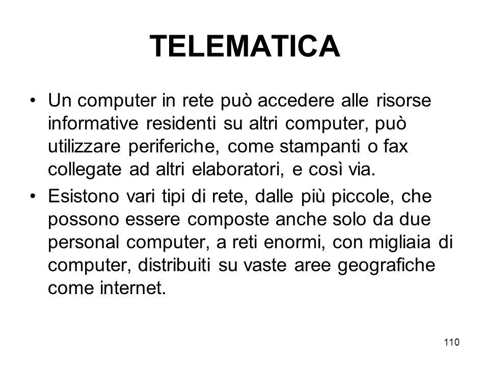 110 TELEMATICA Un computer in rete può accedere alle risorse informative residenti su altri computer, può utilizzare periferiche, come stampanti o fax