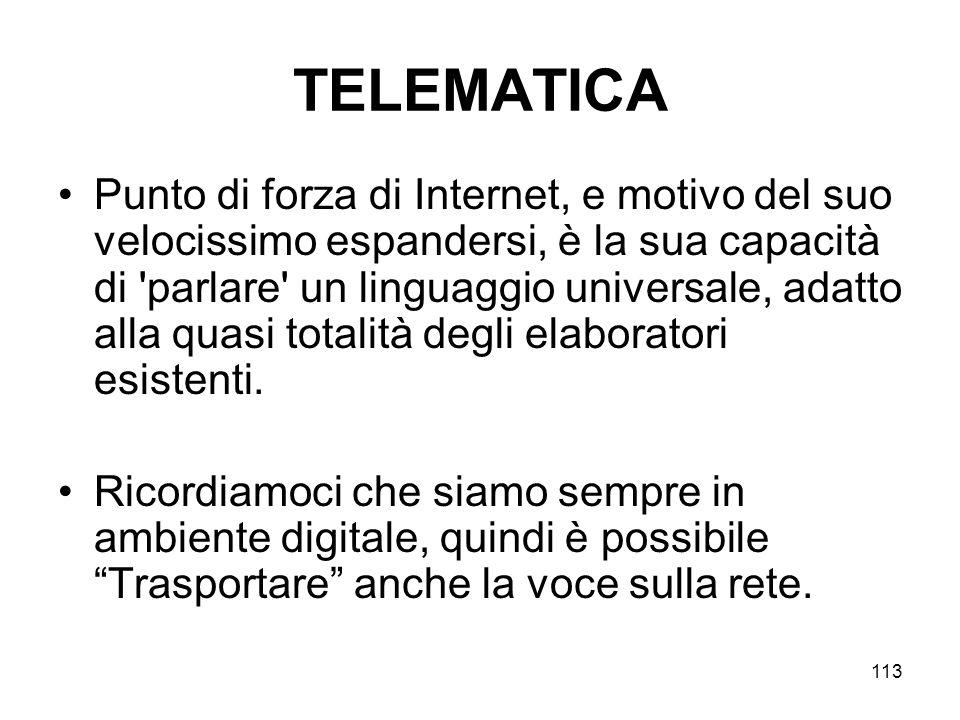 113 TELEMATICA Punto di forza di Internet, e motivo del suo velocissimo espandersi, è la sua capacità di 'parlare' un linguaggio universale, adatto al
