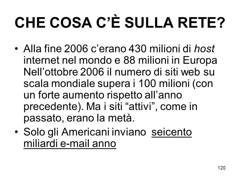 120 CHE COSA CÈ SULLA RETE? Alla fine 2006 cerano 430 milioni di host internet nel mondo e 88 milioni in Europa Nellottobre 2006 il numero di siti web