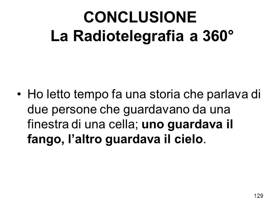 129 CONCLUSIONE La Radiotelegrafia a 360° Ho letto tempo fa una storia che parlava di due persone che guardavano da una finestra di una cella; uno gua