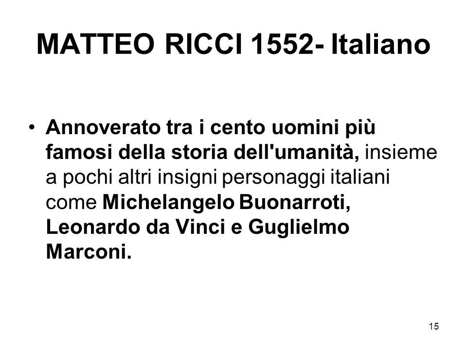 15 MATTEO RICCI 1552- Italiano Annoverato tra i cento uomini più famosi della storia dell'umanità, insieme a pochi altri insigni personaggi italiani c
