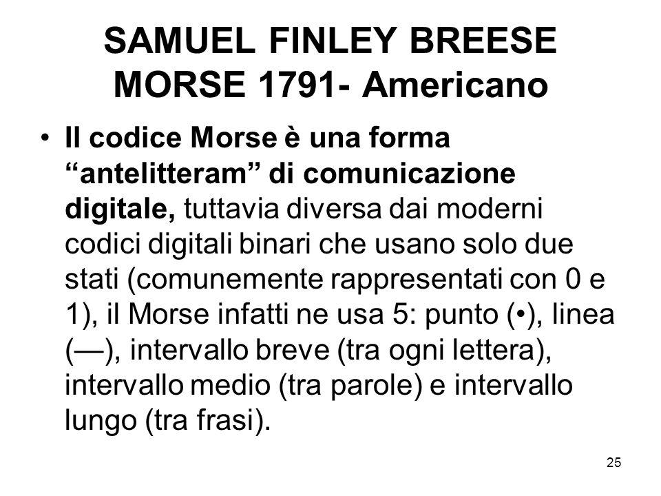 25 SAMUEL FINLEY BREESE MORSE 1791- Americano Il codice Morse è una forma antelitteram di comunicazione digitale, tuttavia diversa dai moderni codici