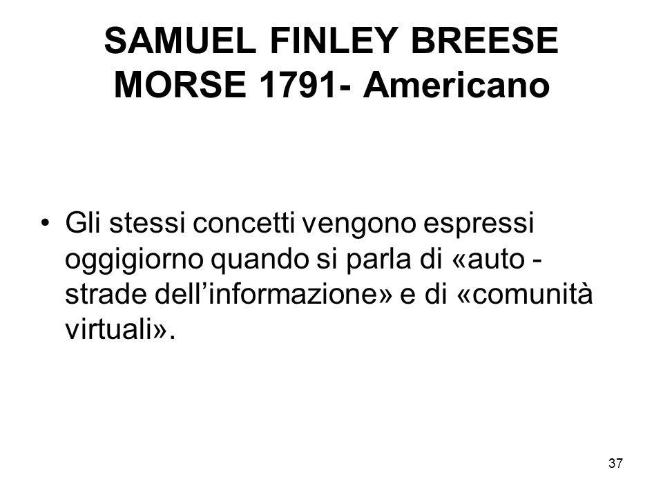 37 SAMUEL FINLEY BREESE MORSE 1791- Americano Gli stessi concetti vengono espressi oggigiorno quando si parla di «auto - strade dellinformazione» e di