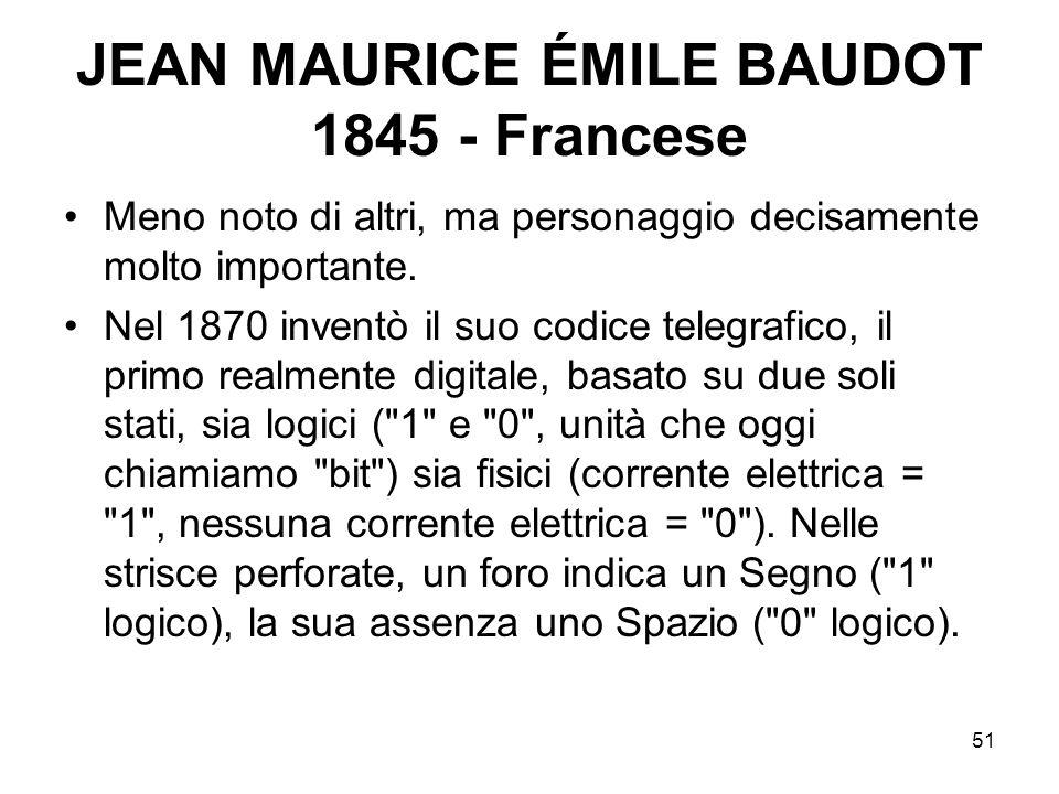 51 JEAN MAURICE ÉMILE BAUDOT 1845 - Francese Meno noto di altri, ma personaggio decisamente molto importante. Nel 1870 inventò il suo codice telegrafi