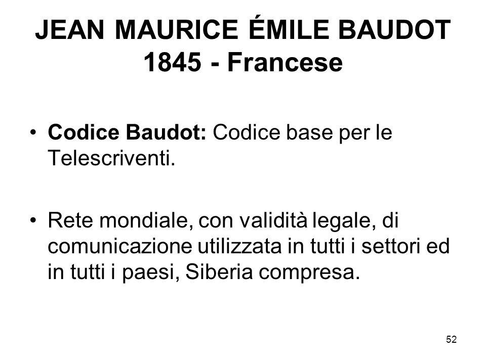 52 JEAN MAURICE ÉMILE BAUDOT 1845 - Francese Codice Baudot: Codice base per le Telescriventi. Rete mondiale, con validità legale, di comunicazione uti