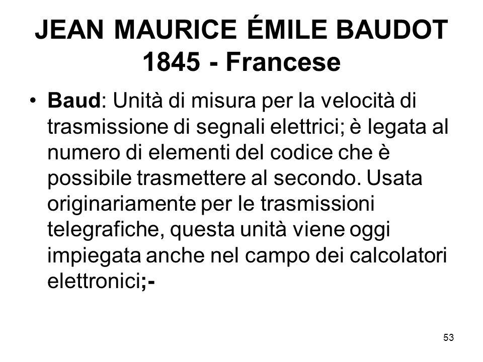 53 JEAN MAURICE ÉMILE BAUDOT 1845 - Francese Baud: Unità di misura per la velocità di trasmissione di segnali elettrici; è legata al numero di element