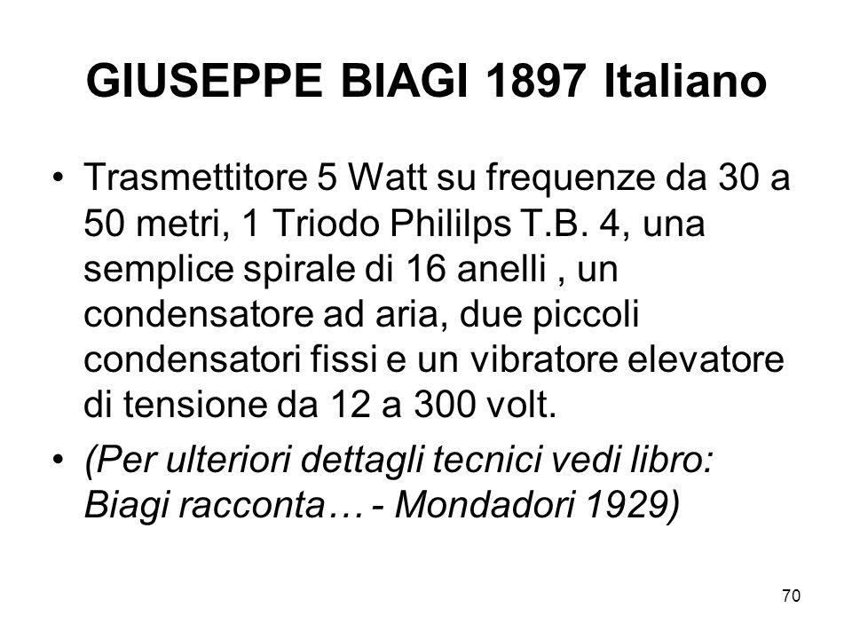 70 GIUSEPPE BIAGI 1897 Italiano Trasmettitore 5 Watt su frequenze da 30 a 50 metri, 1 Triodo Phililps T.B. 4, una semplice spirale di 16 anelli, un co