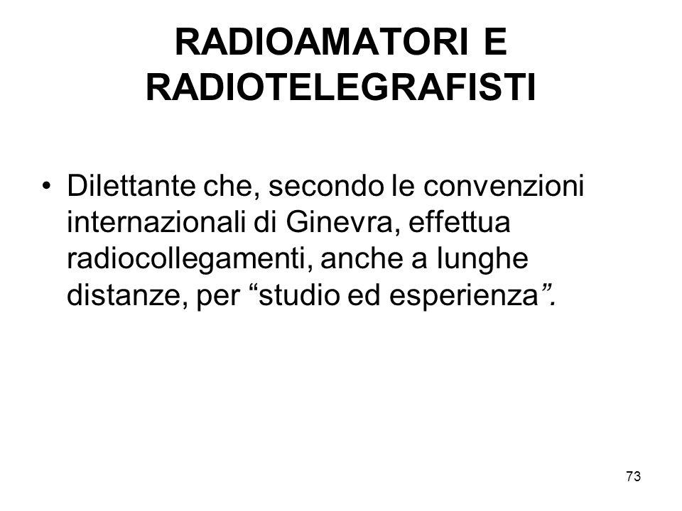 73 RADIOAMATORI E RADIOTELEGRAFISTI Dilettante che, secondo le convenzioni internazionali di Ginevra, effettua radiocollegamenti, anche a lunghe dista
