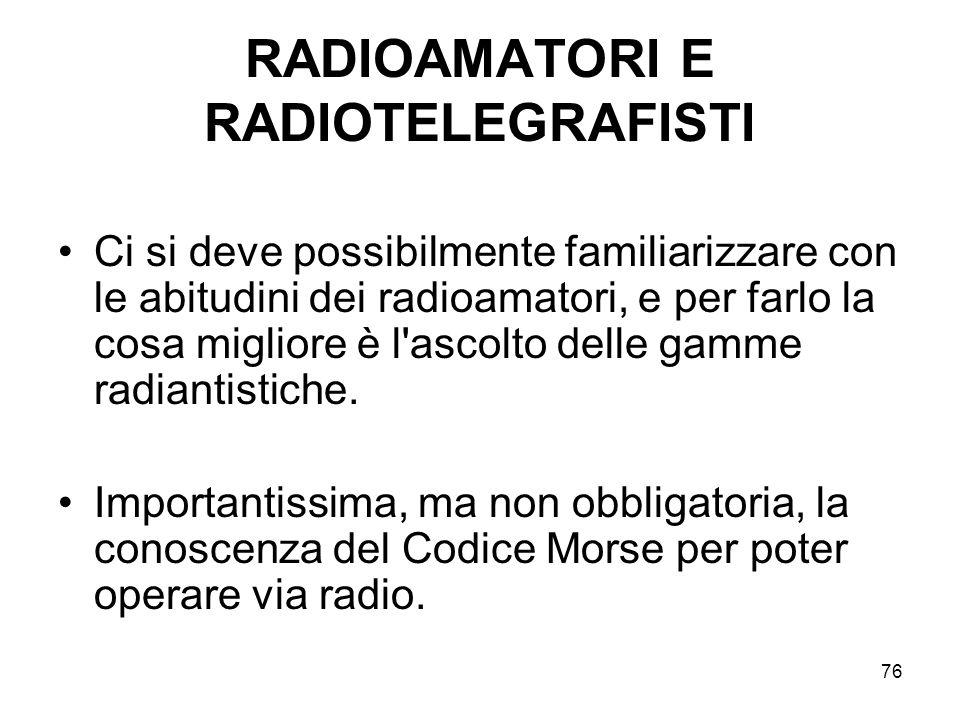 76 RADIOAMATORI E RADIOTELEGRAFISTI Ci si deve possibilmente familiarizzare con le abitudini dei radioamatori, e per farlo la cosa migliore è l'ascolt