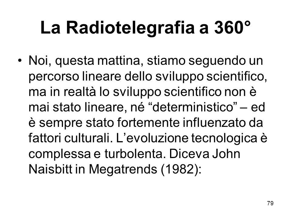 79 La Radiotelegrafia a 360° Noi, questa mattina, stiamo seguendo un percorso lineare dello sviluppo scientifico, ma in realtà lo sviluppo scientifico