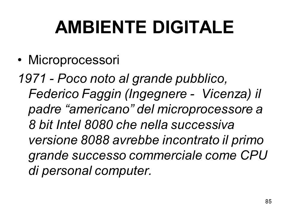 85 AMBIENTE DIGITALE Microprocessori 1971 - Poco noto al grande pubblico, Federico Faggin (Ingegnere - Vicenza) il padre americano del microprocessore