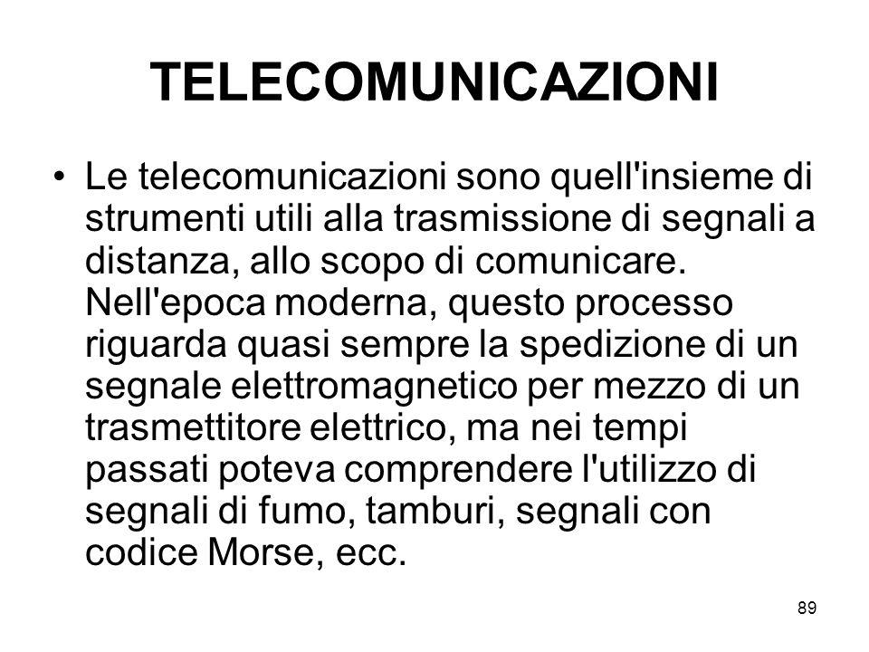 89 TELECOMUNICAZIONI Le telecomunicazioni sono quell'insieme di strumenti utili alla trasmissione di segnali a distanza, allo scopo di comunicare. Nel