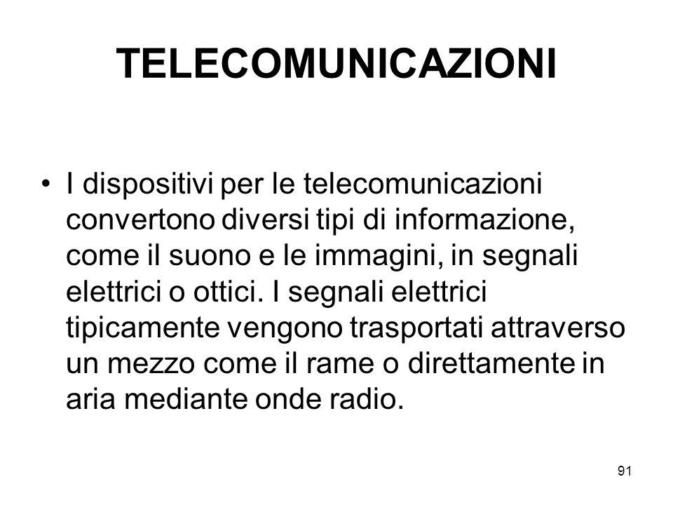 91 TELECOMUNICAZIONI I dispositivi per le telecomunicazioni convertono diversi tipi di informazione, come il suono e le immagini, in segnali elettrici