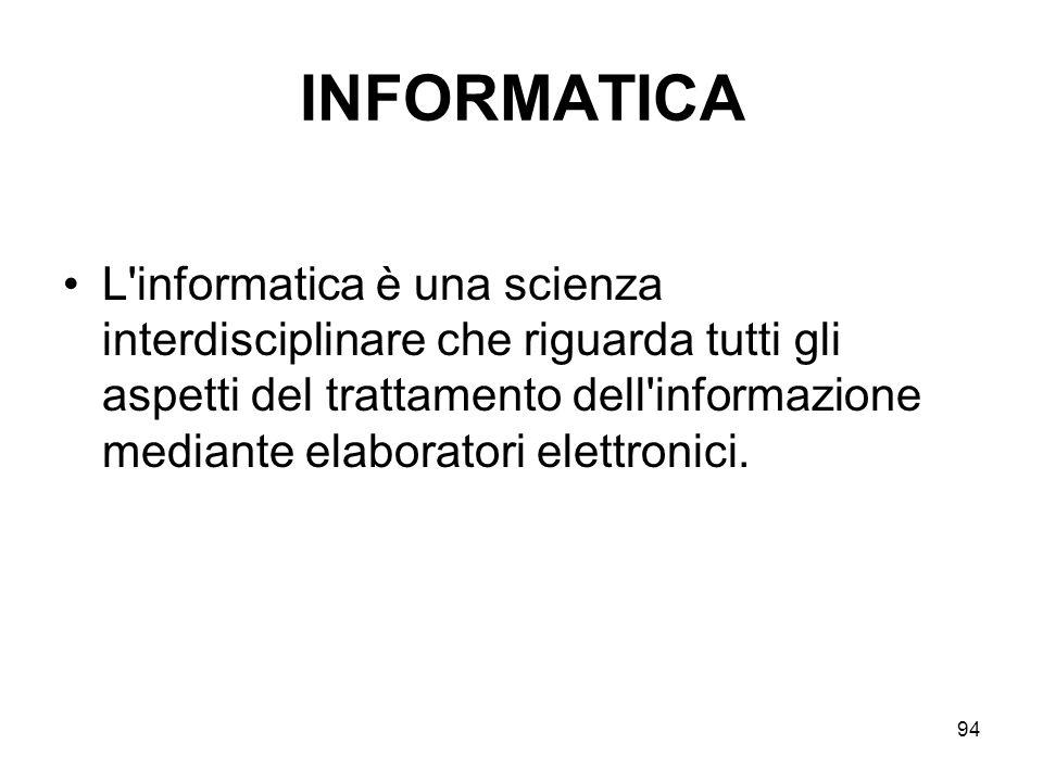 94 INFORMATICA L'informatica è una scienza interdisciplinare che riguarda tutti gli aspetti del trattamento dell'informazione mediante elaboratori ele