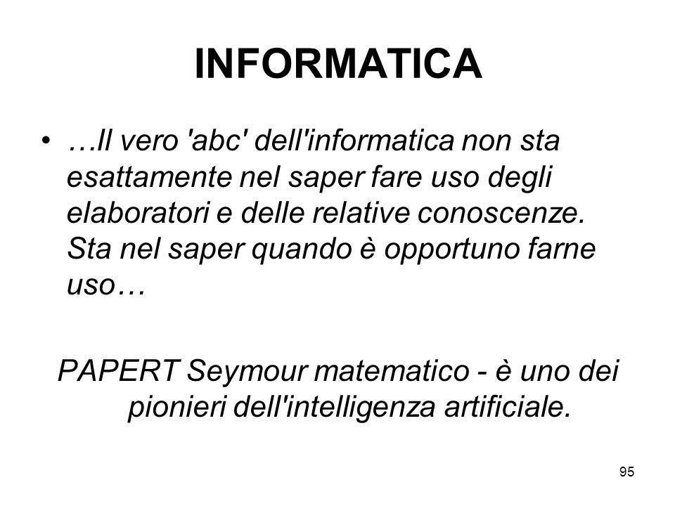 95 INFORMATICA …Il vero 'abc' dell'informatica non sta esattamente nel saper fare uso degli elaboratori e delle relative conoscenze. Sta nel saper qua