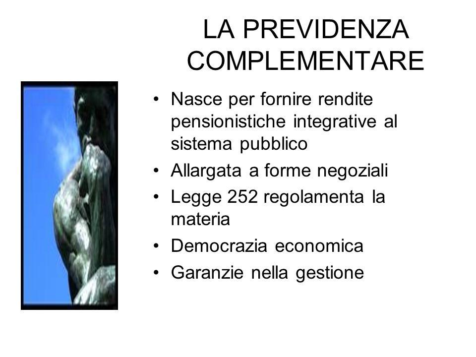 LA PREVIDENZA COMPLEMENTARE Nasce per fornire rendite pensionistiche integrative al sistema pubblico Allargata a forme negoziali Legge 252 regolamenta la materia Democrazia economica Garanzie nella gestione