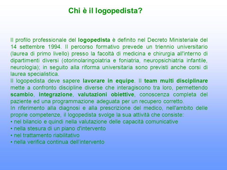Il profilo professionale del logopedista è definito nel Decreto Ministeriale del 14 settembre 1994. Il percorso formativo prevede un triennio universi
