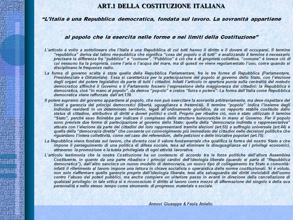 ART.11 DELLA COSTITUZIONE ITALIANA ART.11 DELLA COSTITUZIONE ITALIANALItalia ripudia la guerra come strumento di offesa alla libertà degli altri popoli e come mezzo di risoluzione delle controversie internazionali; consente, in condizioni di parità con gli altri Stati, alle limitazioni di sovranità necessarie ad un ordinamento che assicuri la pace e la giustizia fra le Nazioni; promuove e favorisce le organizzazioni internazionali rivolte a tale scopo Larticolo 11 sancisce il principio pacifista adottato dallItalia che non solo esclude ma ripudia (termine ancora più forte e perentorio) la guerra come strumento per la risoluzione dei conflitti fra i popoli.