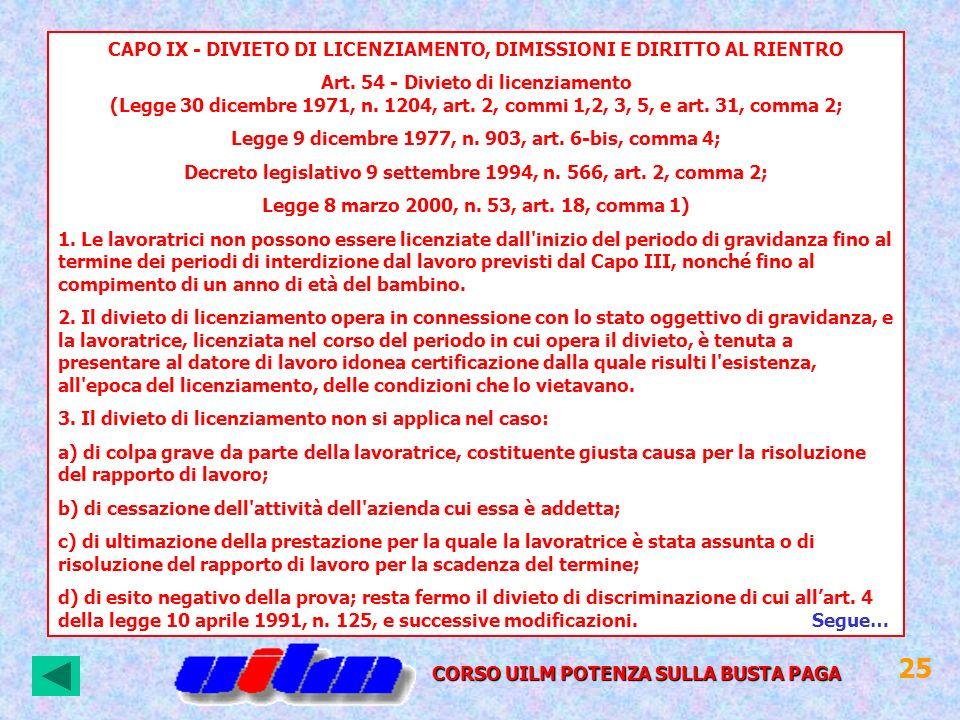 CAPO IX - DIVIETO DI LICENZIAMENTO, DIMISSIONI E DIRITTO AL RIENTRO Art. 54 - Divieto di licenziamento (Legge 30 dicembre 1971, n. 1204, art. 2, commi