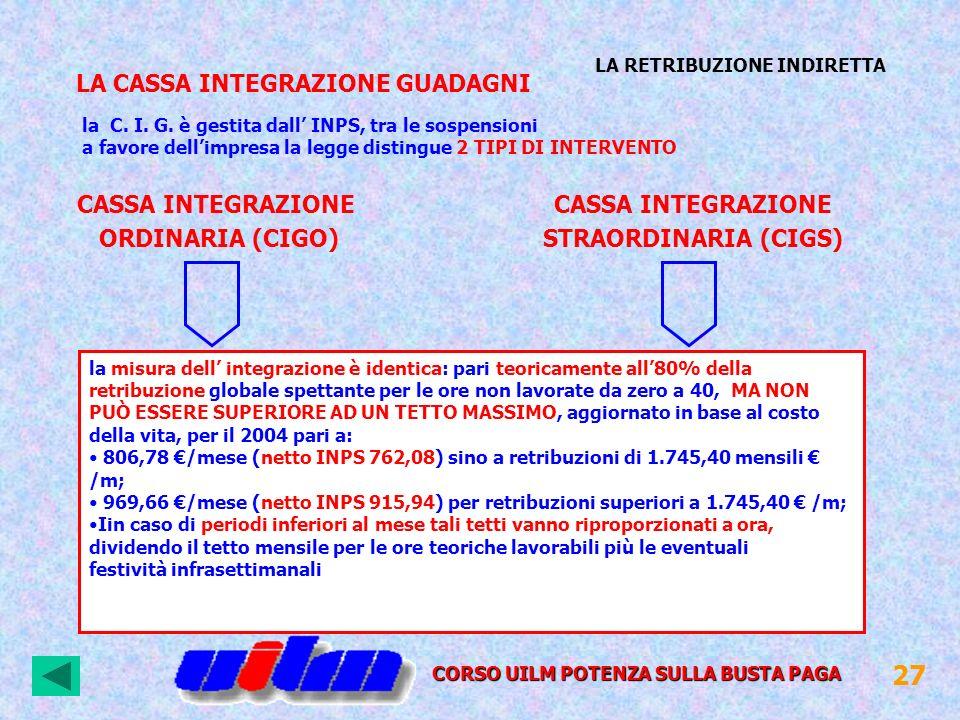 CASSA INTEGRAZIONE ORDINARIA (CIGO) CASSA INTEGRAZIONE STRAORDINARIA (CIGS) la C. I. G. è gestita dall INPS, tra le sospensioni a favore dellimpresa l