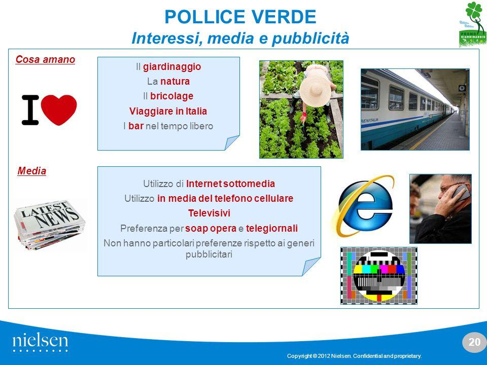 20 Copyright © 2012 Nielsen. Confidential and proprietary. Media Utilizzo di Internet sottomedia Utilizzo in media del telefono cellulare Televisivi P