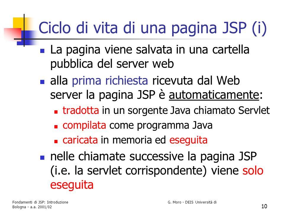 Fondamenti di JSP: Introduzione G. Moro - DEIS Università di Bologna - a.a. 2001/02 10 Ciclo di vita di una pagina JSP (i) La pagina viene salvata in