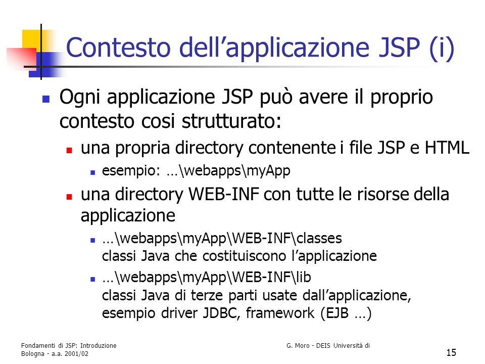 Fondamenti di JSP: Introduzione G. Moro - DEIS Università di Bologna - a.a. 2001/02 15 Contesto dellapplicazione JSP (i) Ogni applicazione JSP può ave