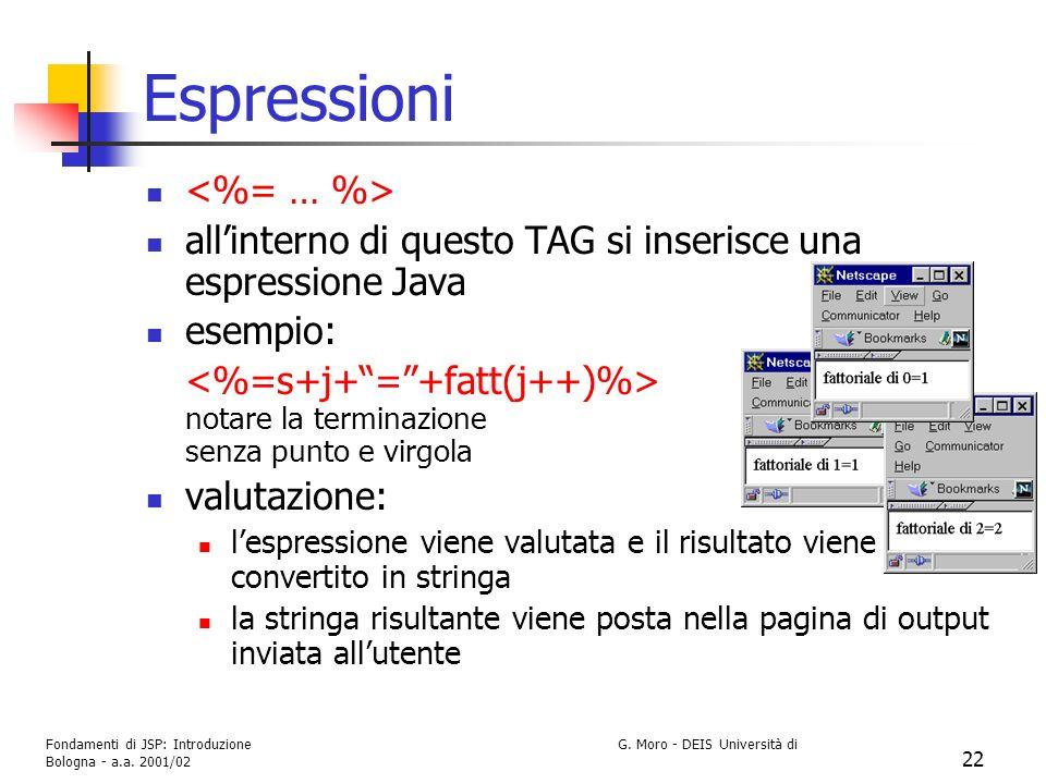Fondamenti di JSP: Introduzione G. Moro - DEIS Università di Bologna - a.a. 2001/02 22 Espressioni allinterno di questo TAG si inserisce una espressio