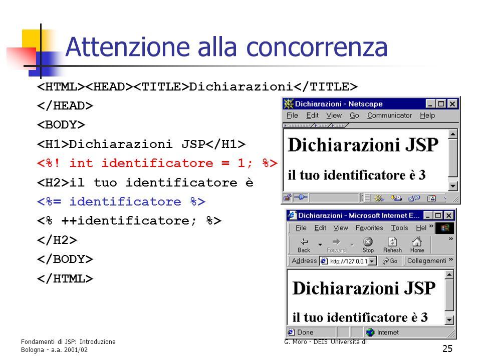 Fondamenti di JSP: Introduzione G. Moro - DEIS Università di Bologna - a.a. 2001/02 25 Attenzione alla concorrenza Dichiarazioni Dichiarazioni JSP il