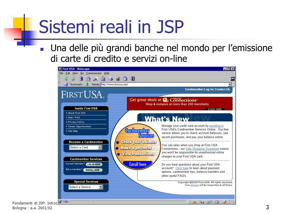 Fondamenti di JSP: Introduzione G. Moro - DEIS Università di Bologna - a.a. 2001/02 3 Sistemi reali in JSP Una delle più grandi banche nel mondo per l