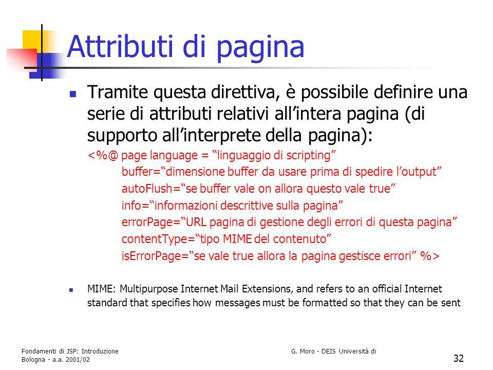 Fondamenti di JSP: Introduzione G. Moro - DEIS Università di Bologna - a.a. 2001/02 32 Attributi di pagina Tramite questa direttiva, è possibile defin