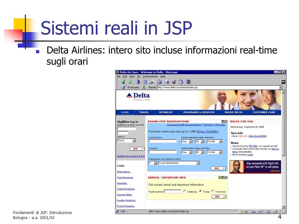 Fondamenti di JSP: Introduzione G. Moro - DEIS Università di Bologna - a.a. 2001/02 4 Sistemi reali in JSP Delta Airlines: intero sito incluse informa