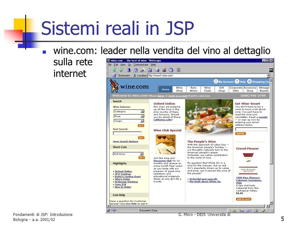 Fondamenti di JSP: Introduzione G. Moro - DEIS Università di Bologna - a.a. 2001/02 5 Sistemi reali in JSP wine.com: leader nella vendita del vino al
