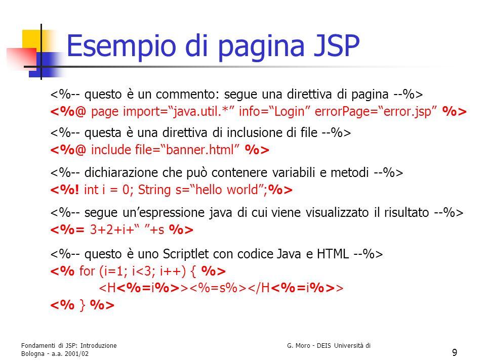 Fondamenti di JSP: Introduzione G. Moro - DEIS Università di Bologna - a.a. 2001/02 9 Esempio di pagina JSP > >