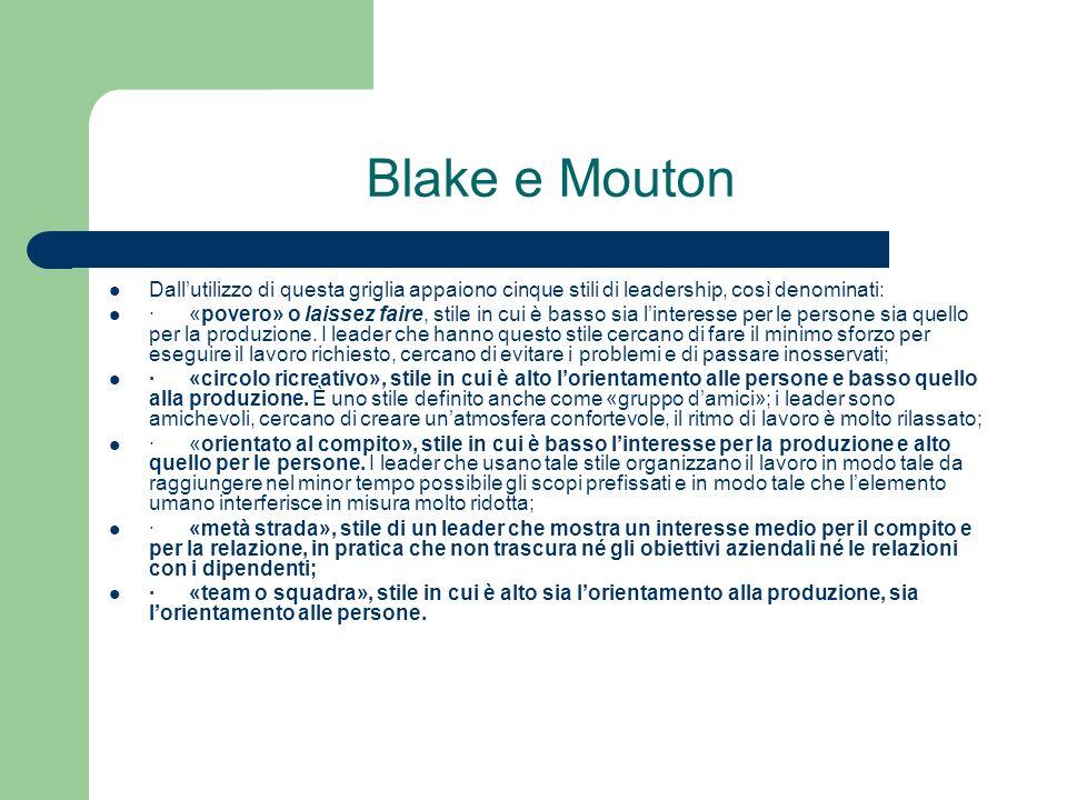 Blake e Mouton Dallutilizzo di questa griglia appaiono cinque stili di leadership, così denominati: · «povero» o laissez faire, stile in cui è basso s