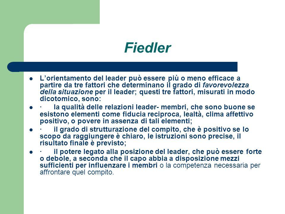 Fiedler Lorientamento del leader può essere più o meno efficace a partire da tre fattori che determinano il grado di favorevolezza della situazione pe