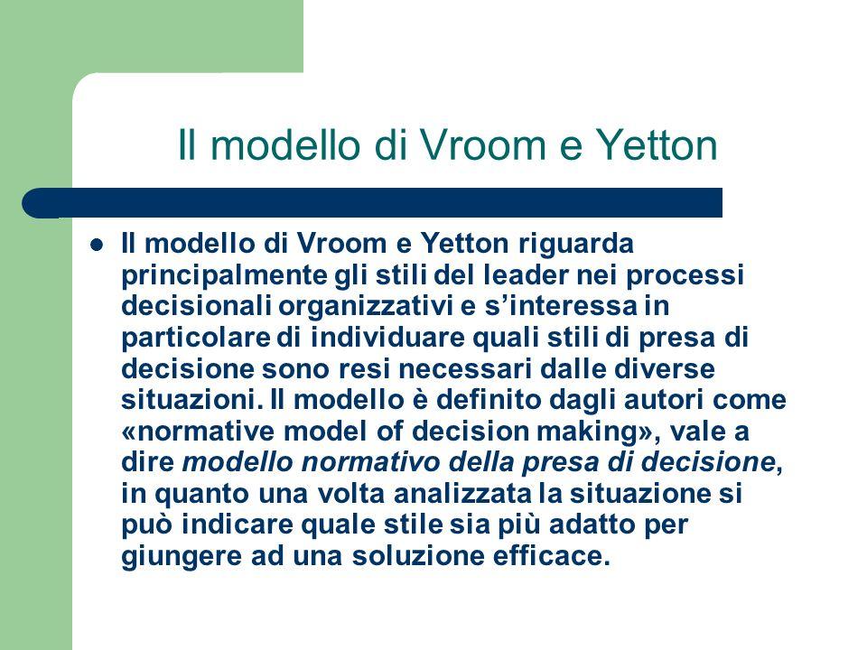 Il modello di Vroom e Yetton Il modello di Vroom e Yetton riguarda principalmente gli stili del leader nei processi decisionali organizzativi e sinter