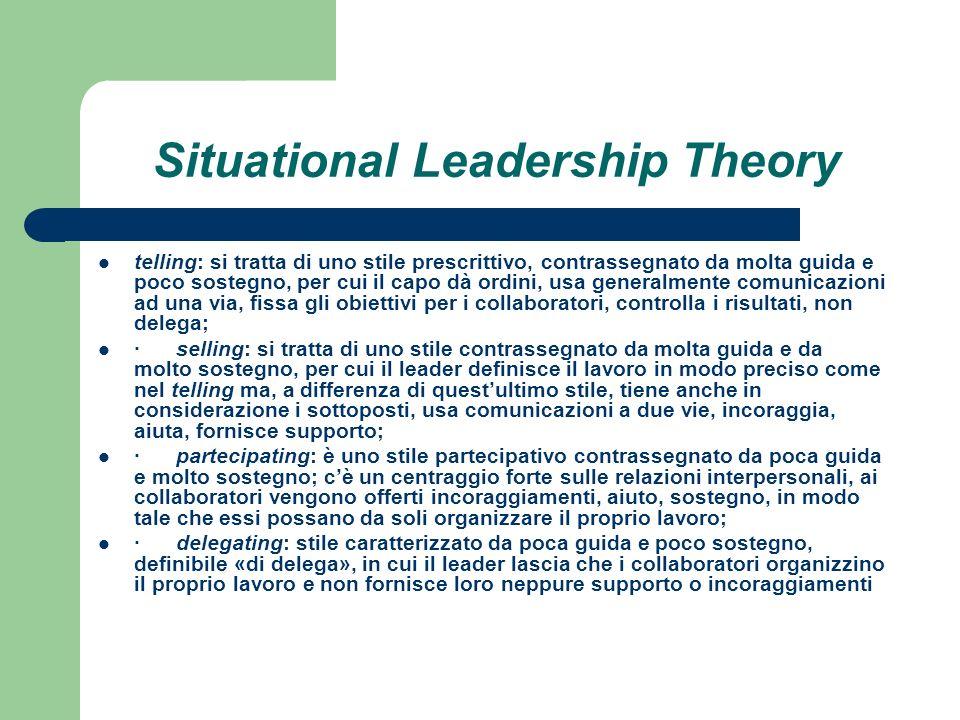 Situational Leadership Theory telling: si tratta di uno stile prescrittivo, contrassegnato da molta guida e poco sostegno, per cui il capo dà ordini,