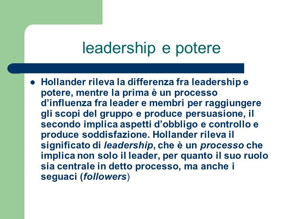 leadership e potere Hollander rileva la differenza fra leadership e potere, mentre la prima è un processo dinfluenza fra leader e membri per raggiunge