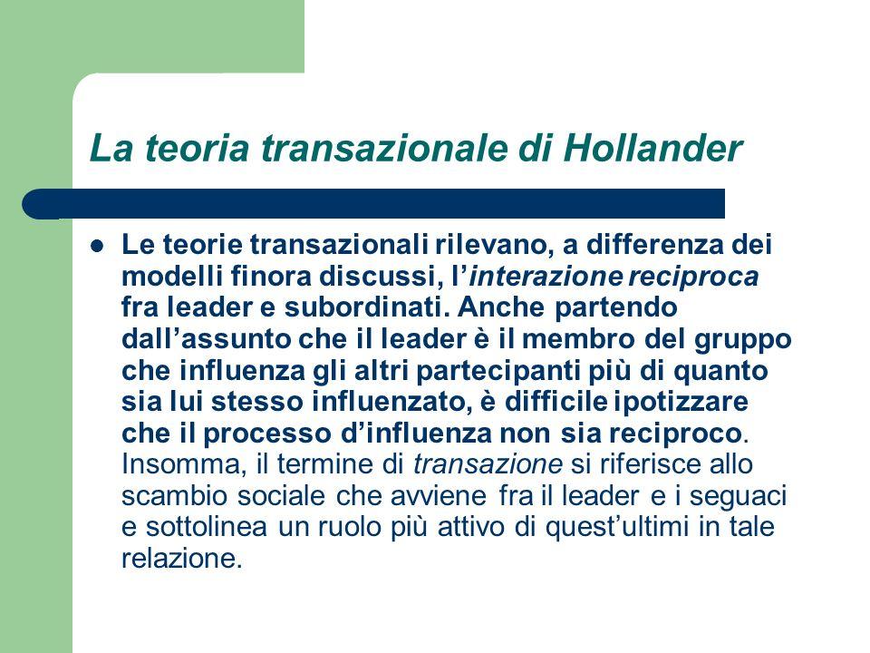 La teoria transazionale di Hollander Le teorie transazionali rilevano, a differenza dei modelli finora discussi, linterazione reciproca fra leader e s